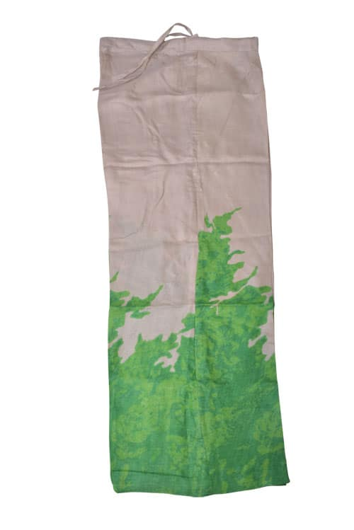 Beige green hand block printed tussar suit-11217