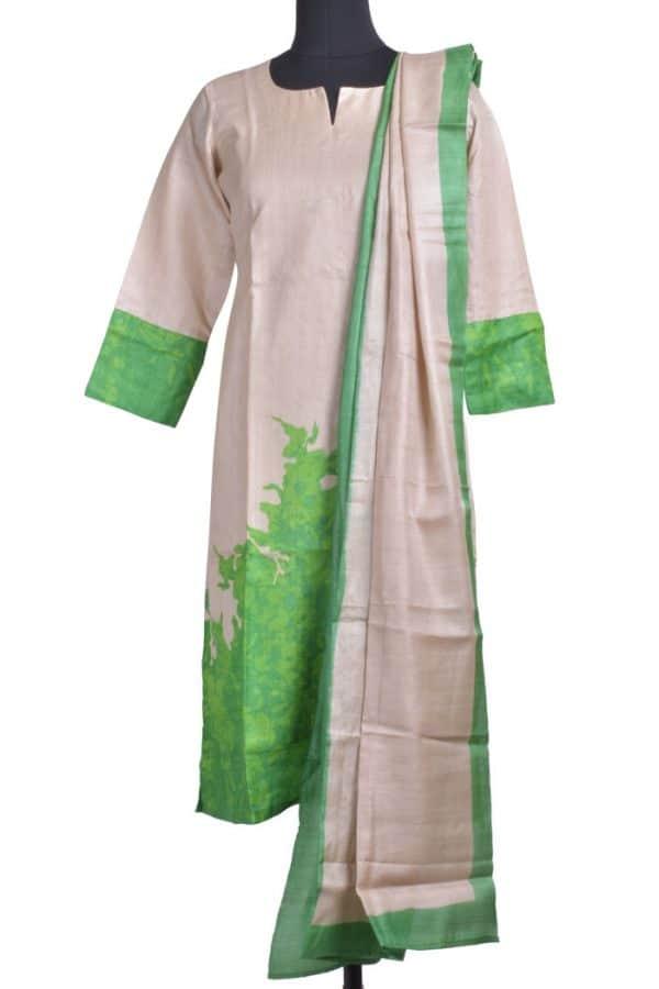 Beige green hand block printed tussar suit-0