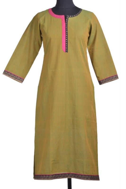 Green cotton kurta-11631