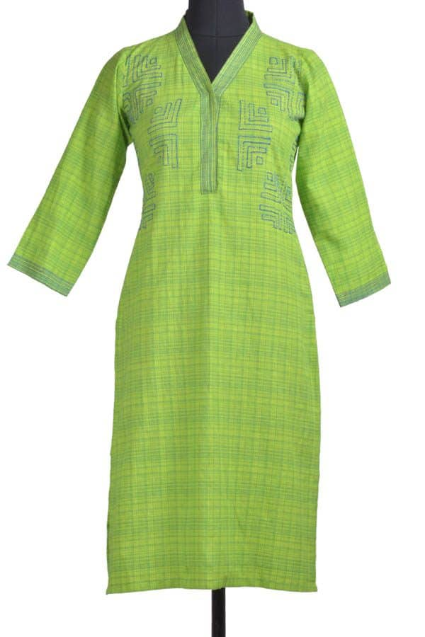 Green cotton kurta-0