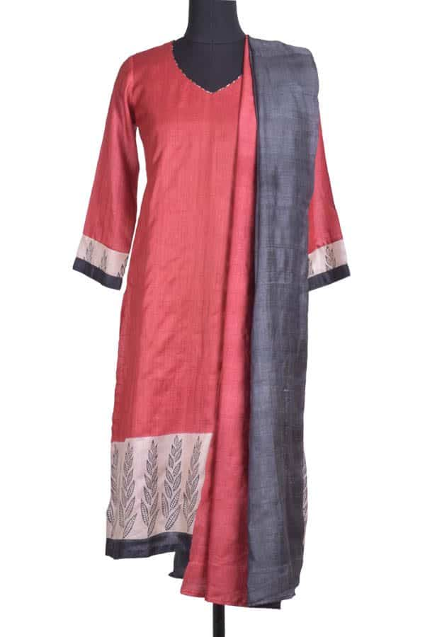 Maroon and black tussar suit-0