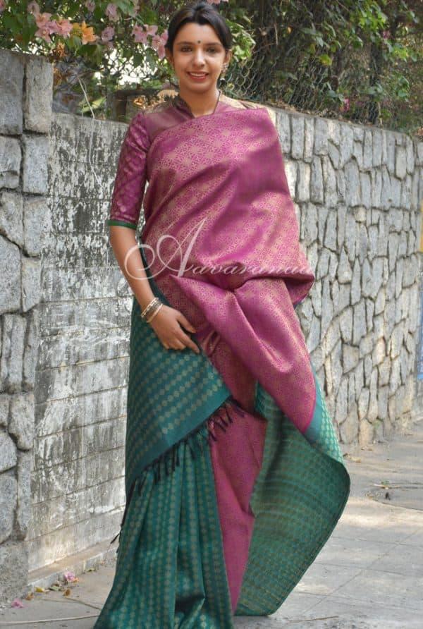 Pink and green kolam half and half kanchi silk saree -0