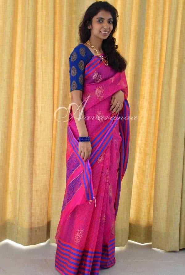 Pink silk kota printed saree -0