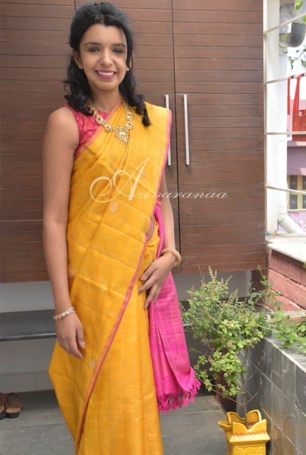 Mustard kanchipuram kora silk saree -0