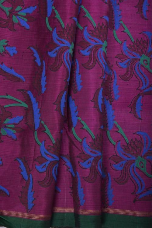Black and majenta block printed kanchipuram silk saree -11179