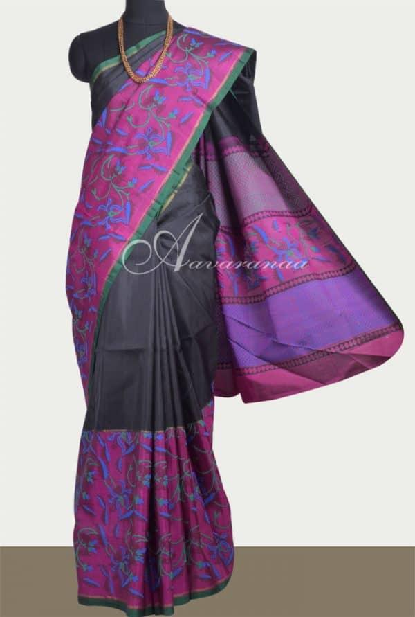 Black and majenta block printed kanchipuram silk saree -0
