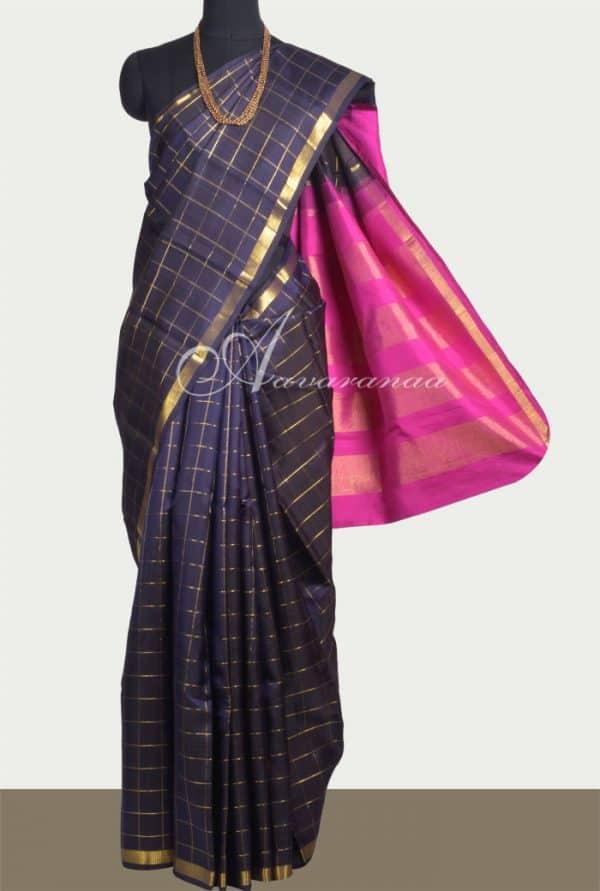 Navy blue kanchipuram silk saree -0