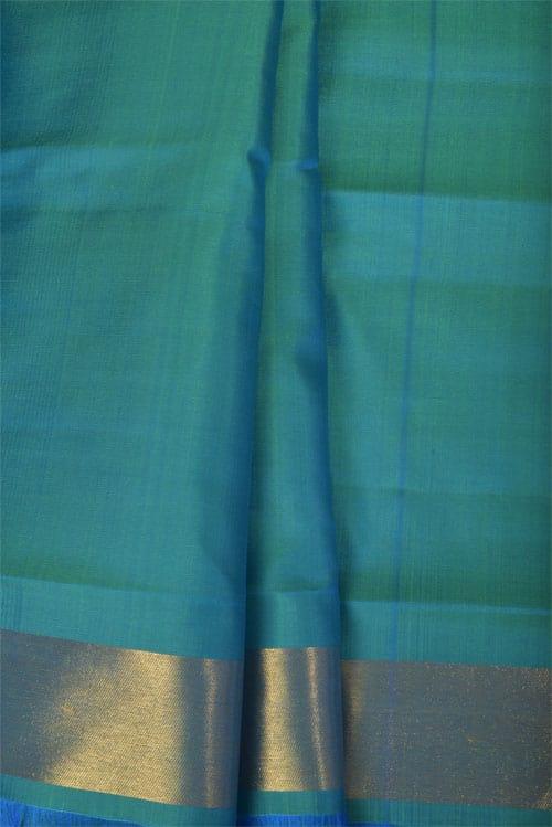 Yellow kanchipuram silk saree with ganga jamuna border -11239