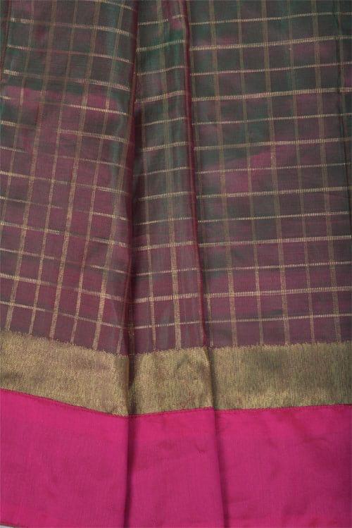 Yellow chiffon saree with pink silk border-11328