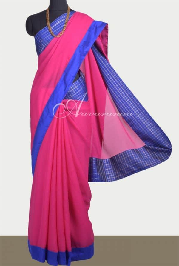 Pink chiffon saree with kanchi silk border-0