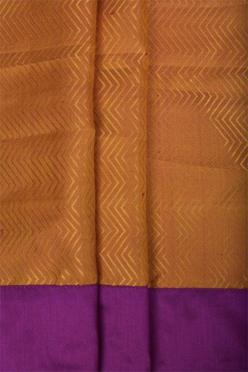 Brown chiffon saree with kanchi silk border-11348
