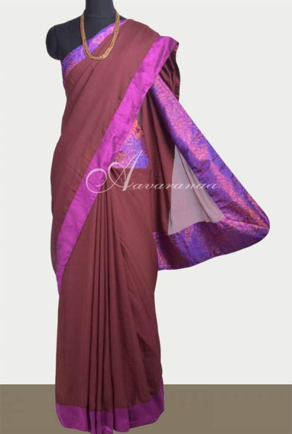 Brown chiffon saree with kanchi silk border-0