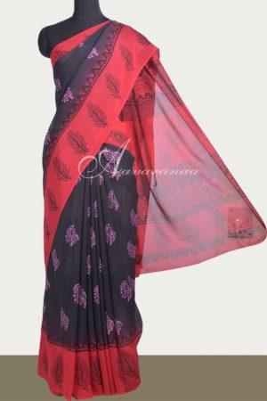Black and red block printed georgette saree-0