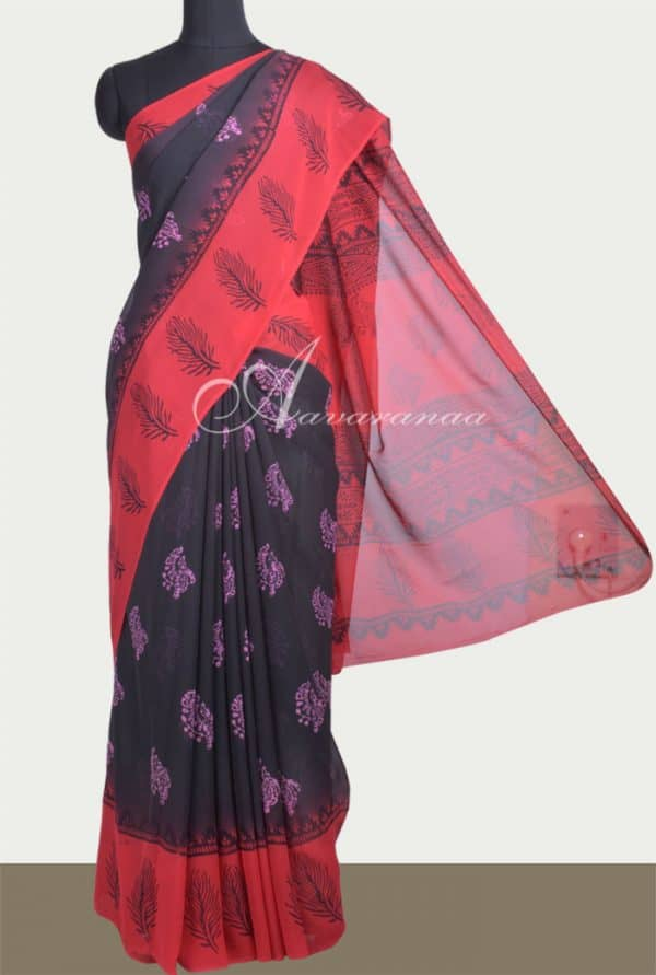 Black and red block printed georgette saree-0