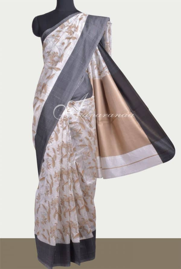 White mutka silk block printed saree-0