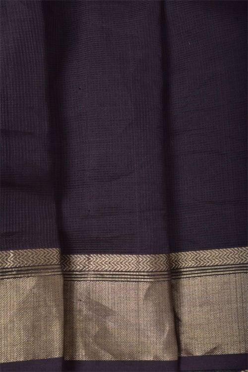 Brown maheshwari block printed saree-11391