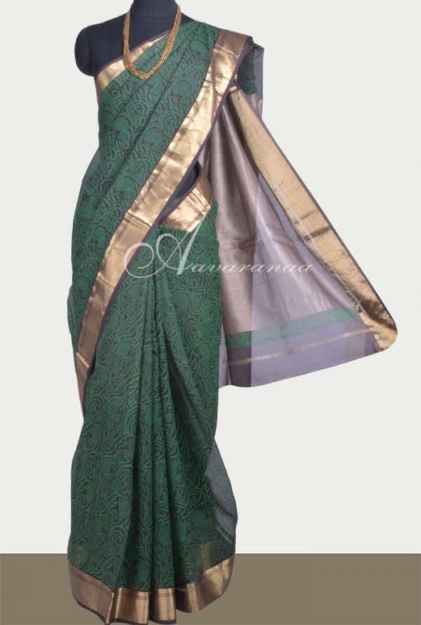 Brown maheshwari block printed saree-0