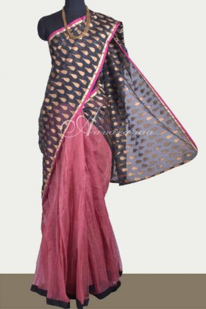 Black silk kota skirt saree-0