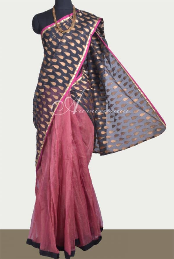 Black silk kota skirt saree-0
