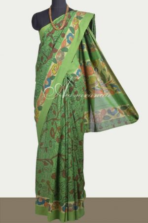 Green cotton kalamkari saree-0