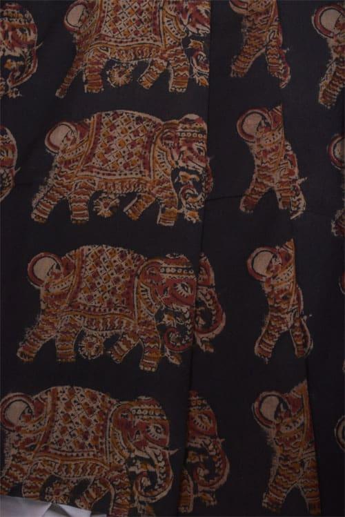 Grey cotton saree with kalamkari border-11295
