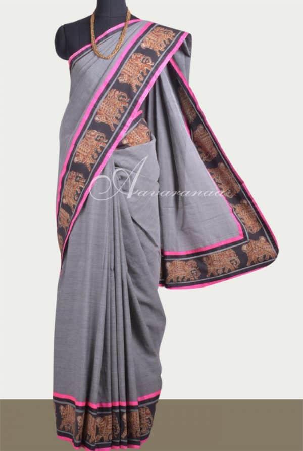 Grey cotton saree with kalamkari border-0