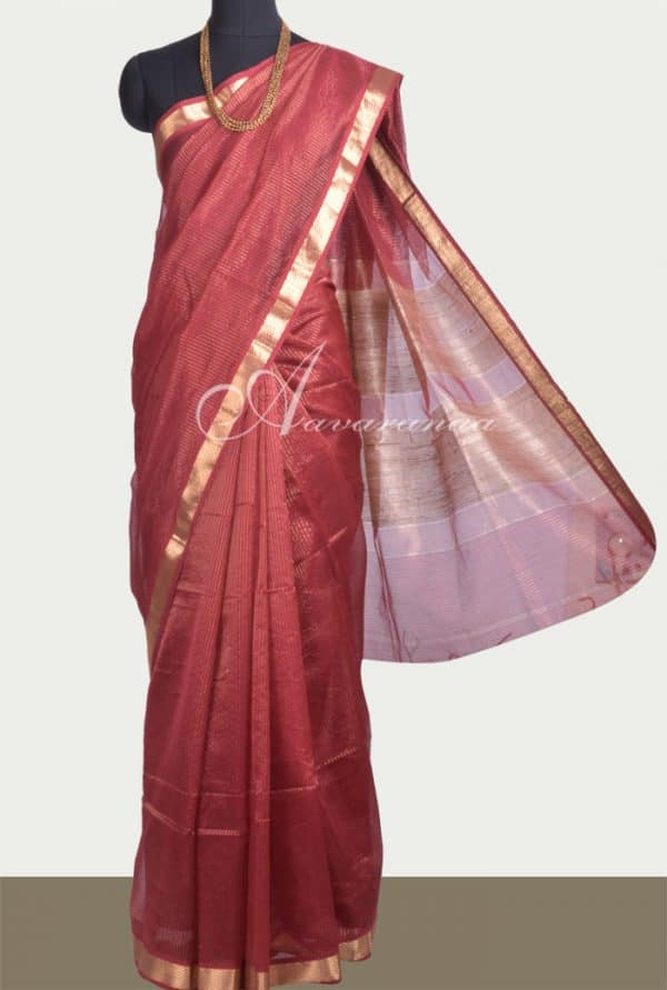 Maroon and gold chandheri saree -0