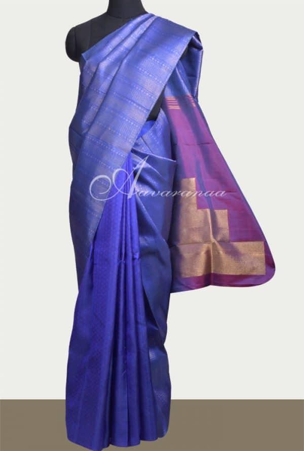 Royal blue kanchi silk with thread and zari weaving-0