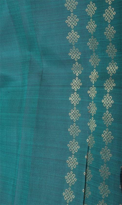Pink and green kolam half and half kanchi silk saree -11342