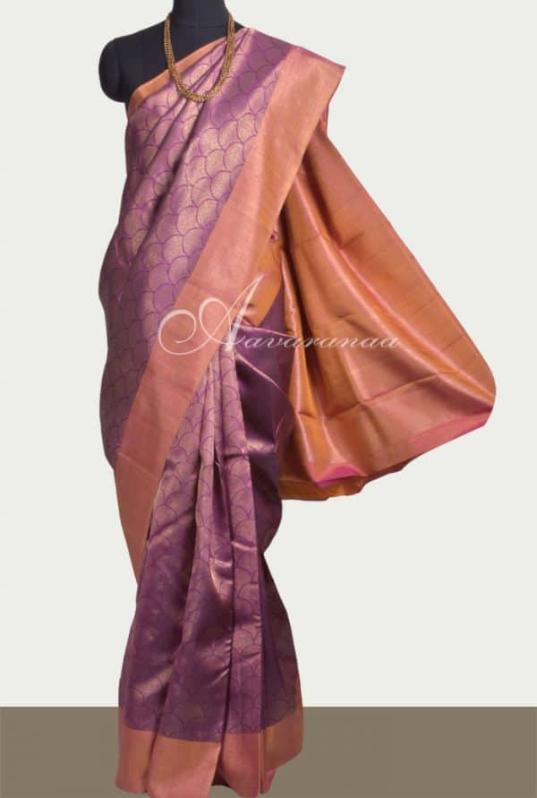 Purple kanchi silk saree with peach border-0