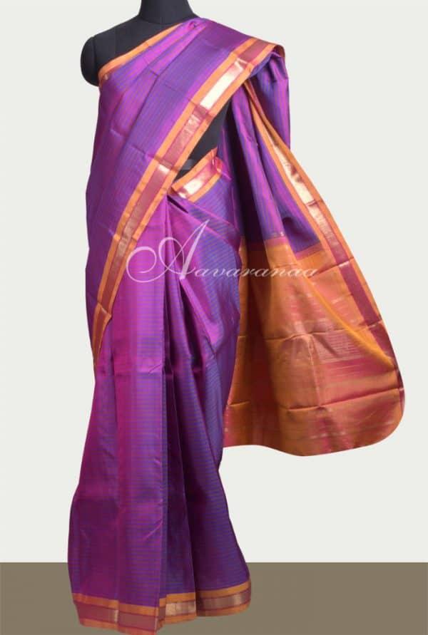 Dark purple kanchipuram silk saree -0