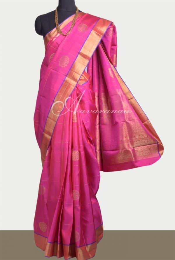 Pink kanchi silk saree with zari buttis-0