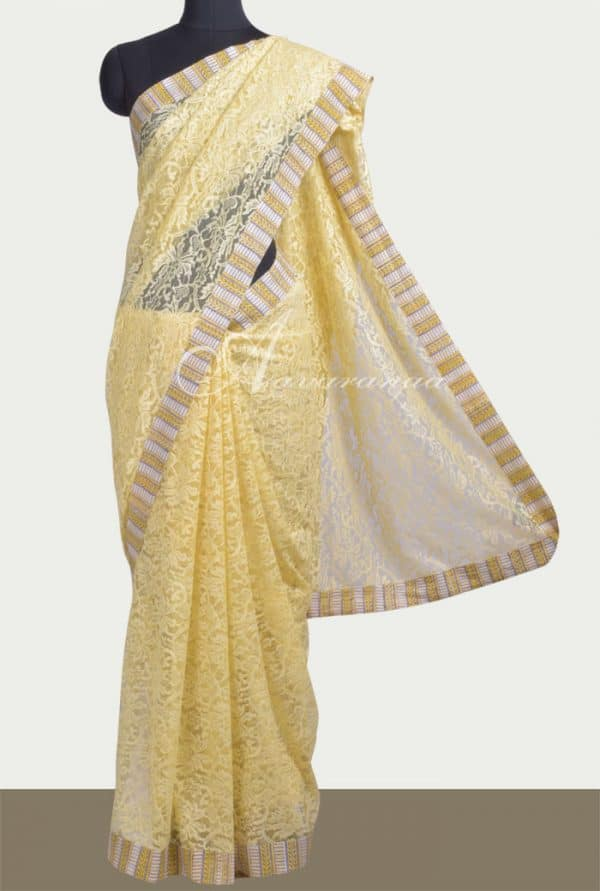 Butter yellow chantilly lace saree-0