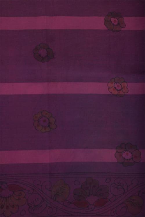 Mauve silk ikat kalamkari saree -11429