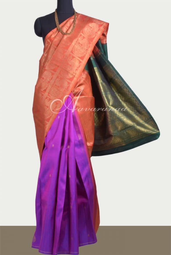 Orange partly pallu kanchipuram silk saree-0