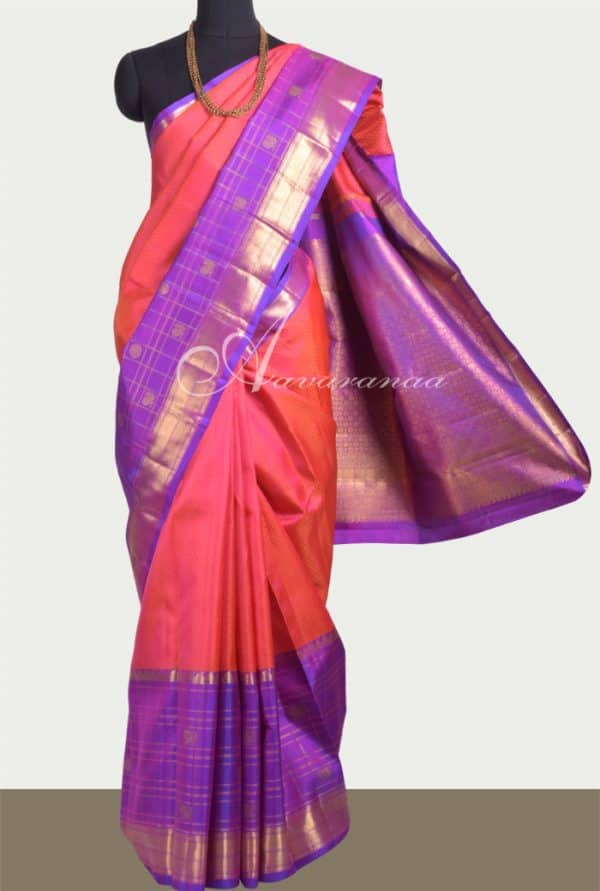 Peach and purple kanchipuram silk saree-0