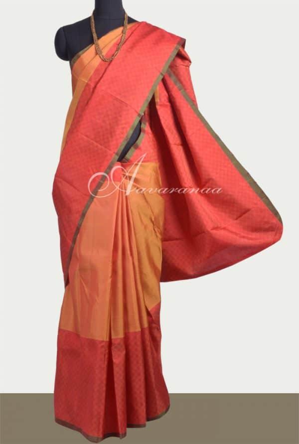 Musturd kanchipuram silk saree-0