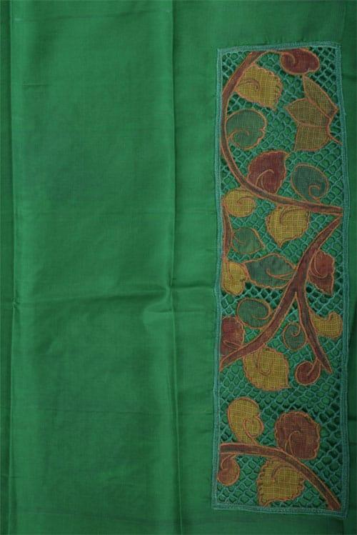 Green cut work silk saree-11568