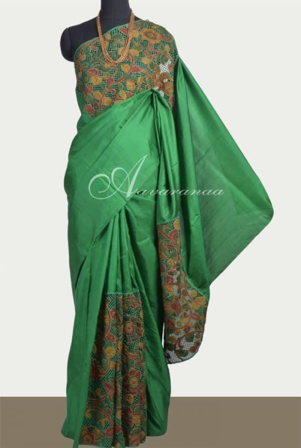 Green cut work silk saree-0