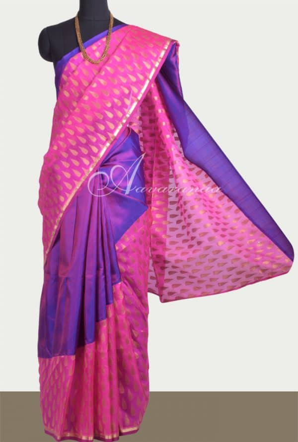 Pink and purple kanchi and banarus saree-0