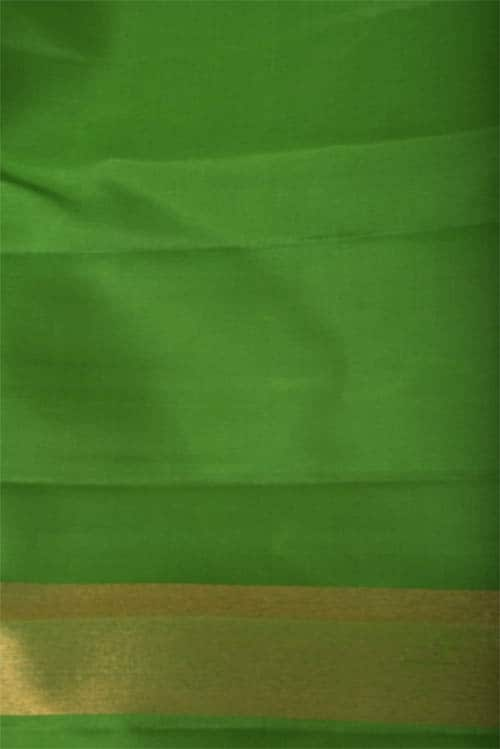 Yellow and green kanchi silk with long and short border-11703