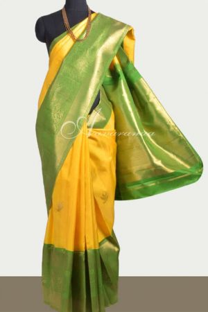 Yellow and green kanchi silk with long and short border-0