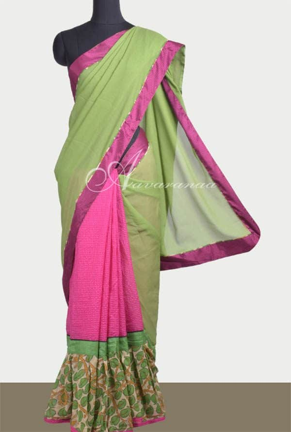 Green and pink frill saree-0