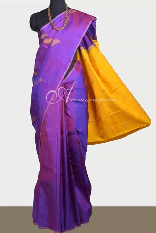 Purple kanchipuram silk saree -0
