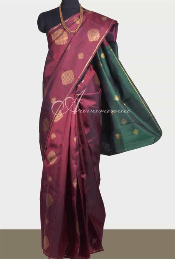 Maroon kachipuram silk saree -0