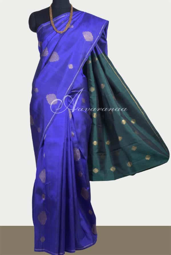 Royal blue kachipuram silk saree-0