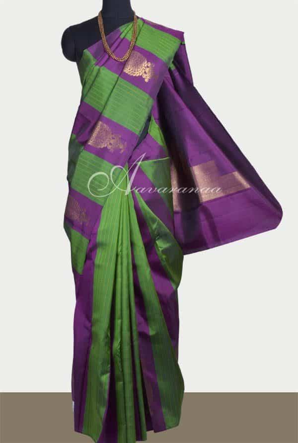 Purple and green panelled kanchipuram-0