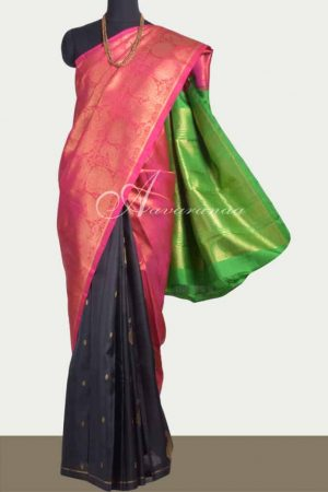 Black, pink and green partly pallu kanchipuram silk saree -0