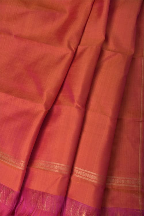 Blue and peach partly pallu kanchipuram silk saree -11047