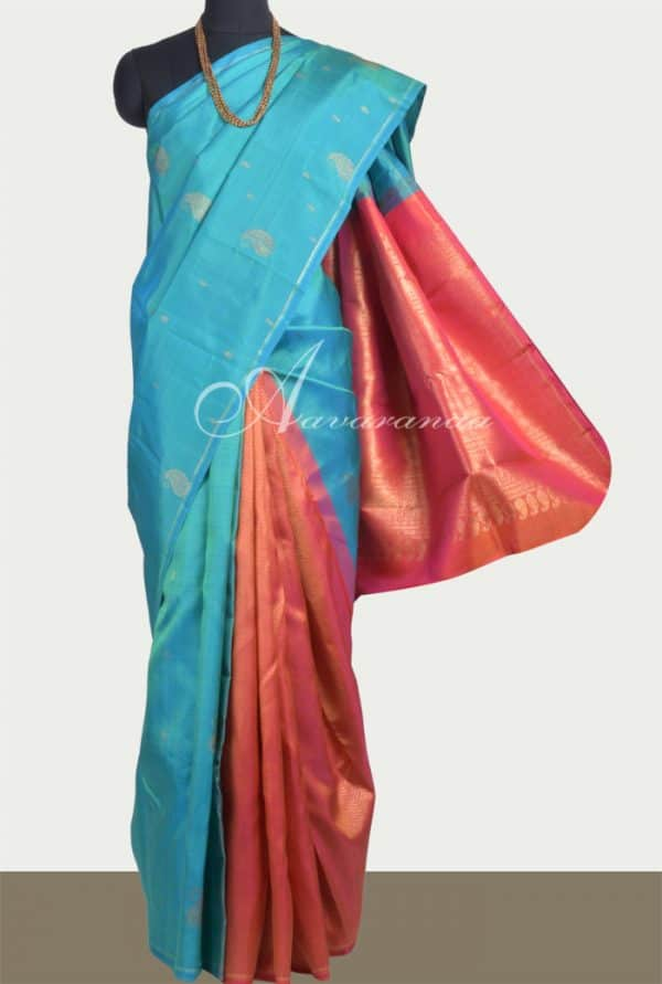 Blue and peach partly pallu kanchipuram silk saree -0